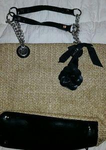 Sarah Violet Woven Black Patent Handbag
